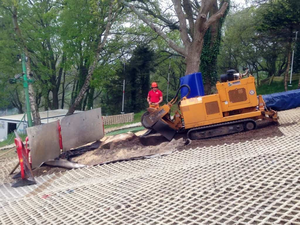 Climbersway Tree Care stump grinding on an artificial ski slope