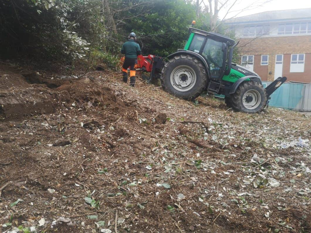 PTO mounted Stump Grinder in action