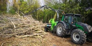 Crane Fed Chipper Chipping Wood