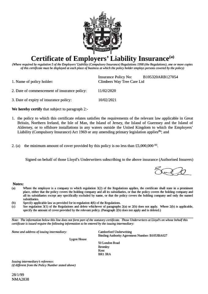 Employers Liability Insurance Document